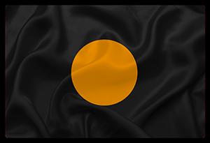 Le drapeau à rond orange sur fond noir
