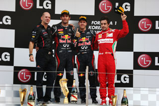 © Getty - Sebastian Vettel, sur le podium de sa 25ème victoire, à seulement 25 ans