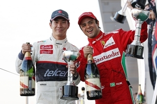 © Sauber - Massa et Kobayashi trinquent à leur podium