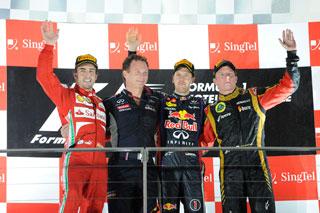 © Ferrari - Vettel, Alonso et Raikkonen sur le podium du GP de Singapour 2013