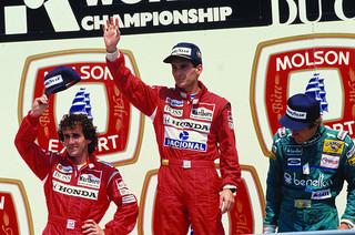 Le podium d'Adélaïde en 1993 est le dernier d'une longue série avec Prost et Senna, comme ici, au Grand Prix du Canada 1988.