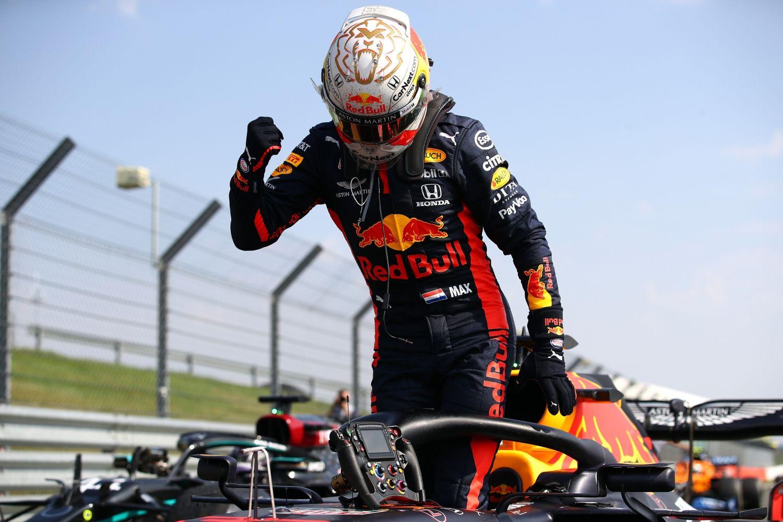 © Getty / Red-Bull - Max Verstappen à l'issue du Grand Prix des 70 ans à Silverstone