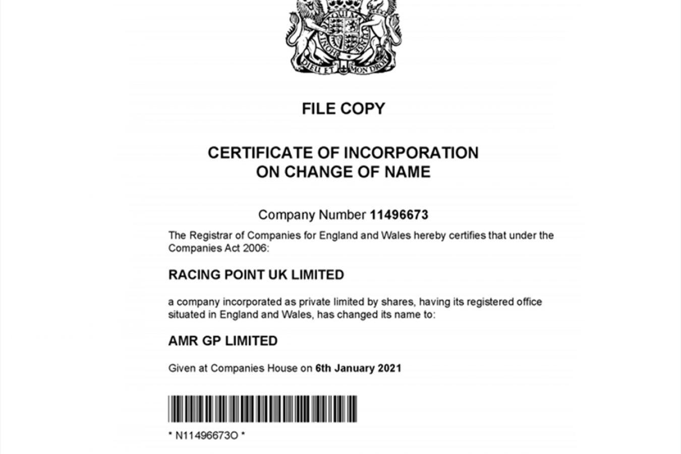document officiel du changement de nom de l'écurie