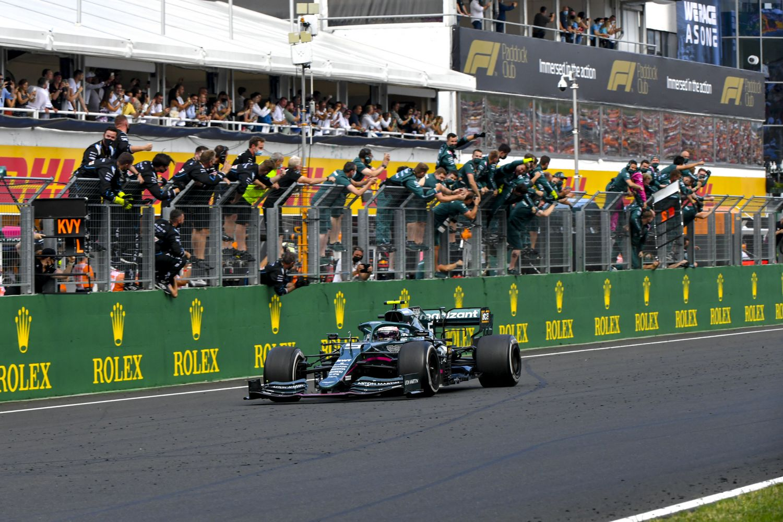 Sebastian Vettel finissant deuxième au Grand Prix de Hongrie