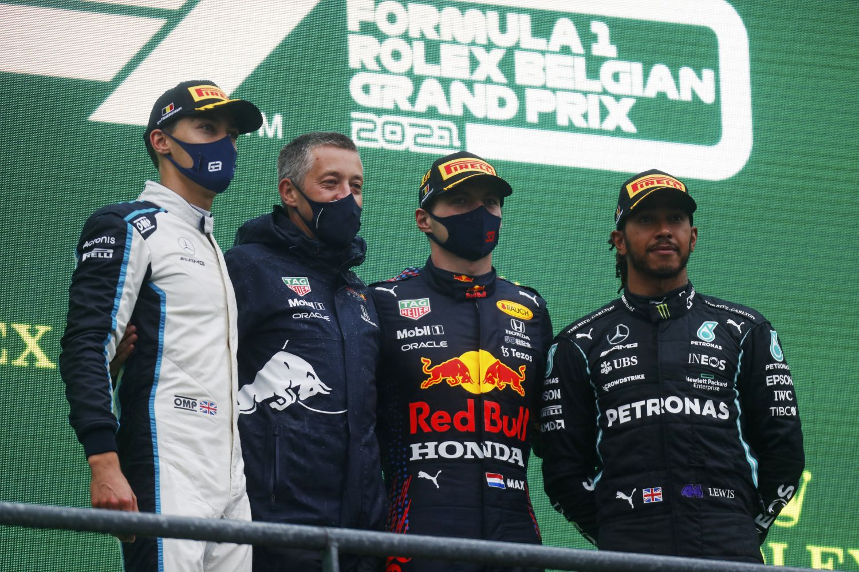 Le podium de Belgique avec Verstappen, Russell et Hamilton