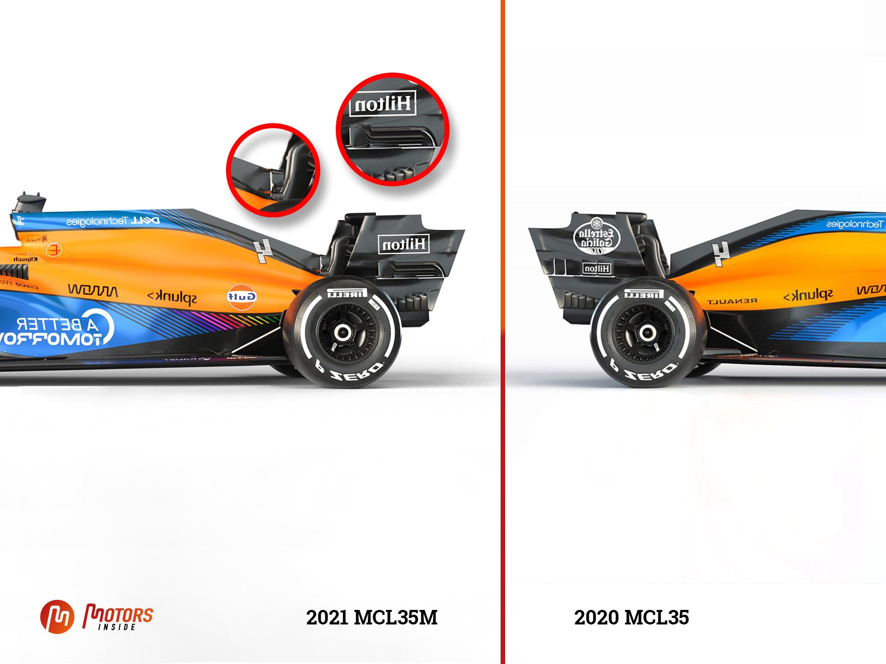 Comparaison de l'arrière des McLaren MCL35M de 2021 et MCL35 de 2020